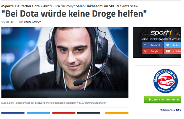 Screenshot: sport1.de